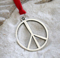 PEACE SIGN 60s HIPPIE Pewter Christmas ORNAMENT Holiday