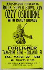 """Ozzy Osbourne Concert Poster - 1982 - Rock Super Bowl XIV - w/ Foreigner 14""""x22"""""""