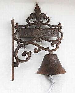 French Scroll Fleur de Lis Welcome Rustic Solid Cast Iron Hanging Bell Door Bell