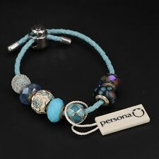 Sterling Silver ZALES PERSONA 7 Charm Bead Leather Bracelet 27g RETAIL $300