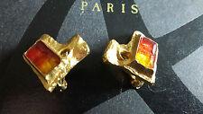 Jolies petites boucles d'oreille clips vintage couture signées Christian Lacroix