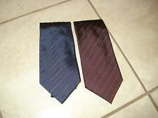 MARC JACOBS 1 BROWN & 1 BLUE STRIPED SILK PRINT TIES MADE IN ITALY