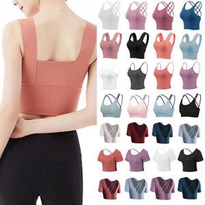 Womens Sports Bra Crop Top Gym Activewear Yoga Training Fitness Seamless Vest UK