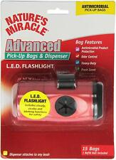 NATURE'S MIRACLE PICK UP BAGS & DISPENSER LED FLASHLIGHT DOG WITH 15 BAGS