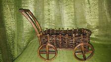 Vintage Wicker planter cart wagon hand made. Wicker basket russian art