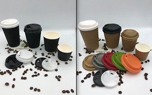 10oz KRAFT BLACK RIPPLE TRIPLE WALL PAPER CUPS HOT DRINK DISPOSABLE LIDS COFFE