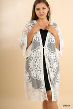 Umgee Cream/White 3/4 Sleeve Floral Embroidered Lace Long Kimono Plus Size XL