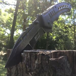 """8.5"""" M-TECH Tactical Combat SPRING ASSISTED OPEN Black Folding POCKET KNIFE NEW"""