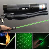High Power 303 Green Laser Pointer Pen Adjustable Focus 532nm Burning Lazer 1MW