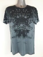 Mens Firetrap Graphic Print T Shirt Crew Neck Top Grey MEDIUM A351-16