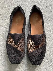 Toms Ladies Black Moroccan Crochet Shoes - UK Size 6