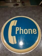Vintage Round Phone Sign Insert Lighted Wall Mount Telephone Phone Booth *Rare*