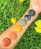 Natural 7 Chakras Disc Stone Worry Pocket Stone Gemstone Reiki Gift Chakra
