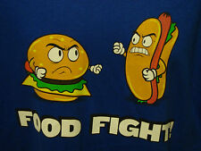 Food Fight Cheese Burger Vs Hotdog Angry Novelty Battle Blue Large T-Shirt Funny