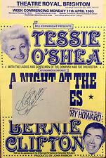 TESSIE O'SHEA & CHARLIE CHESTER AUTOGRAPHS  AND ORIGINAL BRIGHTON SHOW  POSTER