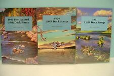RARE 3 USSR ISSUED DUCK STAMP BOOKS CONTAINING 4 STAMPS EACH, 1989/1990/1991