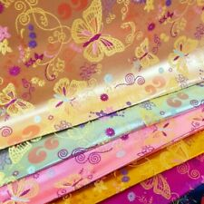 Chinese Brocade Satin Fabric Faux Silk Butterfly Skirts Cloth Vintage Craft DIY