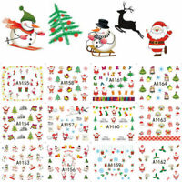 2Sheets Christmas Nail Art Stickers Snowflakes&Cute Snowmen Decal Water Transfer