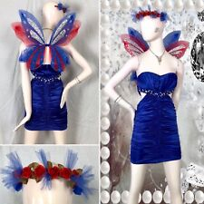 4 PC FAIRY Princess PIXIE Costume BLING BUTTERFLY Dress WINGS Floral TIARA Crown