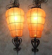 Pair Vintage Hanging SWAG LAMPS, Retro Mid-Century Orange Beehive Ceiling Lights
