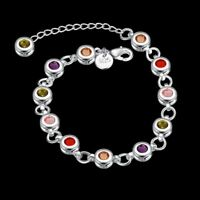 Wholesale 925Sterling Solid Silver Jewelry Colorful Round Crystal Bracelet H259