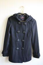 M60 Miss Sixty XS Black Peplum Flare Coat Double Breasted Jacket Wool Blend Hood