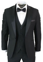 Men Black Suit Pointed Lapel Tuxedo Dinner Suit 3 Piece Wedding Prom Party Wear