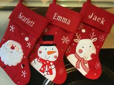 Personalised Christmas Stocking Red Santa Snowman Reindeer Stocking