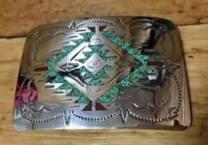 Handmade Sterling Silver Belt Buckle 925 Turqoise Vintage