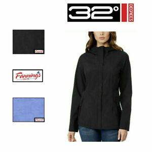 32 Degrees Cool Women's Lightweight Waterproof Hooded Rain Jacket Size S M L XL