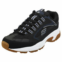 Skechers Stamina Cutback Mens Black Navy Leather & Synthetic Fashion Trainers