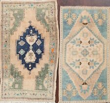 Pack of 2 Vintage Muted Anatolian Turkish Oriental Area Rug Hand-knotted 2x3 ft