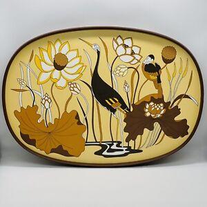 St Michael M&S Vintage 70s Retro Melamine Tray floral orange brown birds flowers