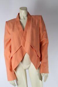 BCBG MAXAZRIA Lloyd Orange Asymmetrical Open Front Blazer Jacket Size M