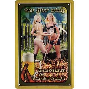 Bier trinken für Landwirtschaft Blechschild Schild gewölbt 20 x 30 cm JKM C0059