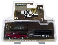 1:64 GreenLight *HITCH & TOW 14* Maroon 2017 RAM 2500 Pickup BLACK Dump Trailer