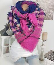 XXL écharpe à CARREAUX FRANGES plaid tartan étole poncho rose bleue beige