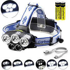 150000LM 5LED 6-mode USB Rechargeable Headlamp Headlight Torch Lamp +Cable+18650