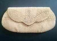 Vintage Art Deco Beige Faux Pearl Beaded Clutch Evening Hand Bag Purse Japan
