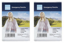 2 x CLEAR WATERPROOF EMERGENCY RAIN PONCHO PONCHOS WITH HOODS RAINCAPE PACAMAC