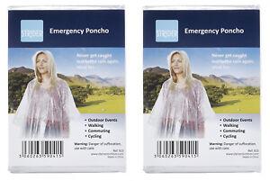 2 x CLEAR WATERPROOF EMERGENCY RAIN PONCHO PONCHOS WITH HOODS RAINCAPE PACAMAC