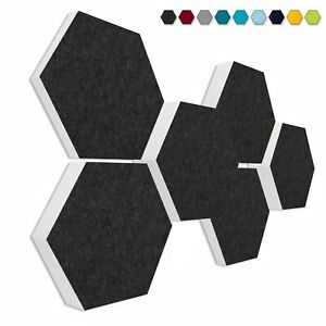 6 Akustik Absorber Element aus Basotect ® G+ Honeycomb ANTHRAZIT / 3D-Set #001