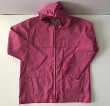 Women's LL BEAN Rubber Hooded Raincoat Jacket Pink Size Petite Large GREAT SHAPE