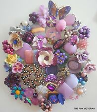 50pc VINTAGE to NOW *PURPLE* themed CRAFT collection EARRINGS PINS BEADS PN908
