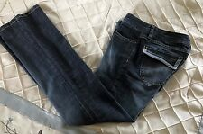 Daisy Fuentes Blue Distressed Flap Pockets Flare Jeans Size 4 EUC