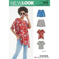 New Look Sewing Pattern 6555 Misses 6-24 Keyhole Shirt Top Tunic Hem Sleeve Vari