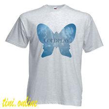 New COLDPLAY Alternative Rock Band Butterfly Logo Men's Grey T-Shirt Size S-3XL