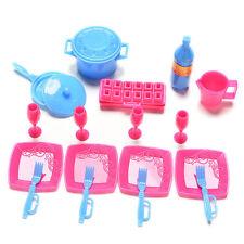18Pcs Mini Plastic tableware pots pans dishes for Barbie Doll House furniture