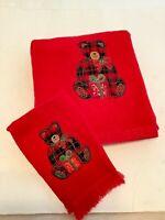 2 pc Christmas Holiday Bath Hand Towel Set Red Green Gold Teddy Bear