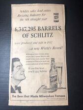1953 Schlitz beer print ad Milwaukee Wi 14.5x8�